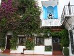 Old town of Marbella with restaurant El Balcon de la Virgin.