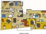 Layout of the 4-bedroom unit.  Note that the bedroom shown lower left has the view of the strip.