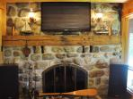 Fire Place Wood Burning + 42' Flat Screen TV
