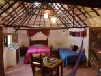 An authentic Mayan Hut converted into a room - Sleeping for 3 persons -