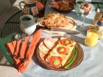 Gourmet Hot Breakfast, fresh homebaked bread, homemade gluten free granola,