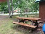 Our big old fashioned picnic table.