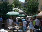 The famous Sunday flea market starts just across the street
