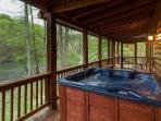 Screened-in Hot tub area overlooking the Coosawattee River