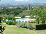 View across the pool towards Lucca in the plain.