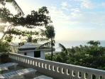 sun chairs on terrace of pool areea