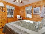King bedroom on main level at cabin near Dollywood