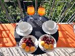 Breakfast in your balcony with views of Athens and the Acropolis