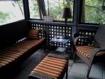 screened porch w new conversation set