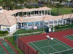 tennis court/pool area