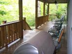 Large back porch with creek views