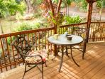 Outdoor table and chairs, BBQ grill, benches all accommodate 6 guests