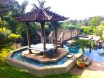 Pool meditation/reading shade platform by pool