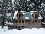 Windows facing Mt Hood in winter
