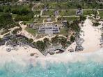 Aerial of world famous Tulum Ruins less than 10 minutes from complex.