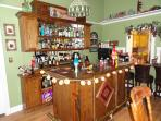 The bar at the Book Nook Inn - great for parties.