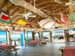 Coco Beach Bar.  Great spot for food, fun, games, drinks and beach.  Located just around the corner