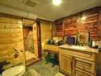Separate shower and bathroom-(amazing cedar shower with sonus stereo right in the cedar bathroom