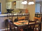Granite table with seating for 6, plus breakfast bar
