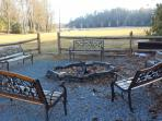 Fire pit at pavillion in Land Harbor