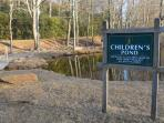 Children's pond next to pavillion