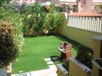 garden backyard with barbeque