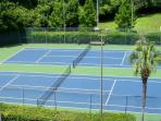 Two of the six tennis courts