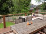 Outdoor lounge overlooking park