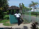 Security at the back entrance that leads onto the beach