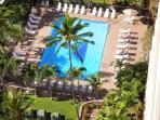 view of swimming pool from my 16th floor lanai