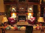 Living Room Includes a Fireplace in a Dry Stack Quartzite Rock Wall
