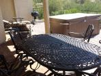 Relax by grilling, dining, lounging, or sitting in the private hot tub on the back porch!