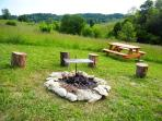 Fire pit with grill, picnic table
