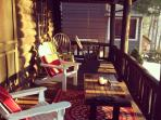 Inviting porch looking over Lake Wallenpaupack