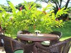 Lanai, direct walk out to large tropical garden area, great for kids!