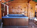 Covered Secluded Spa with overhead rope lighting in Back Yard for Star Gazing