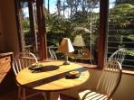 Breakfast nook with gentle morning sun.