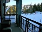 Balcony overlooking mid-mountain skiing