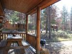 View of other cabins from porch - enough space for privacy