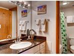 Private Master Bathroom with granite counters, full-size bathtub/shower, and new toilets!