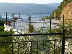 72 sq metre patio with the sea and mountain views