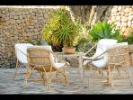 The courtyard with Ibicencan stone terrace next to kitchen for breakfasts in peace & tranquillity