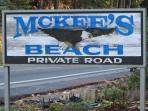 MCKEE'S BEACH Street Sign
