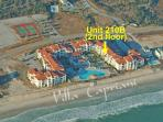 Aerial photo showing location of unit in resort