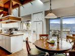 There's a nice open feel to the kitchen and dining nook, and an even better view.