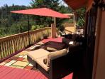 Our spacious deck overlooks a beautiful valley!