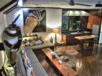 Sunken living room and kitchen
