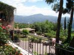 The view from the VIlla over the Garden, Pool area and the Riviera