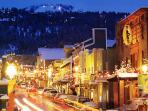 Main street Park City on a winter night - alive with action! townhouse is on the free shuttle route