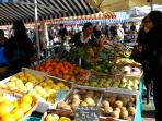 local market with perfect fresh seasonal fruit and vegetables